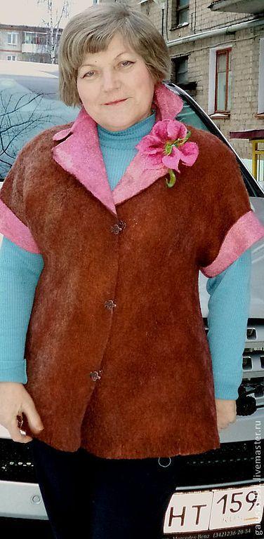 """Пиджаки, жакеты ручной работы. Ярмарка Мастеров - ручная работа. Купить Валяный  жакет """" Зефир в шоколаде"""". Handmade. Однотонный"""