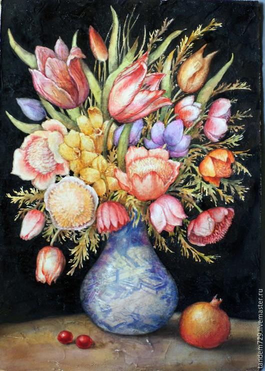 Картины цветов ручной работы. Ярмарка Мастеров - ручная работа. Купить КАРТИНА БУКЕТ АКВАРЕЛЬЮ ВОЛЬНАЯ ИНТЕРПРИТАЦИЯ ДЖОВАННИ ГАРЗОНИ. Handmade.