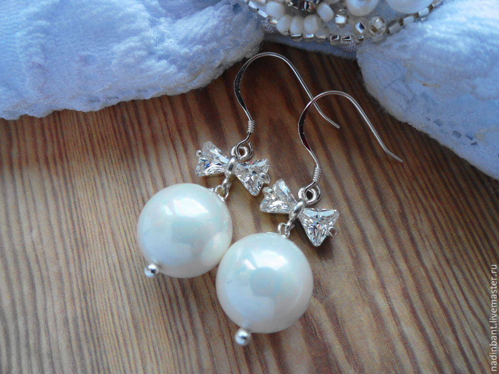 Earrings With bows and pearls Mallorca reserve, Earrings, St. Petersburg,  Фото №1
