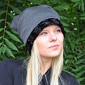 Аксессуары handmade. Livemaster - original item Hat beanie faux fur lining. Handmade.