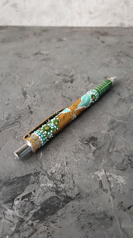 Авторучка шариковая зелёная с золотым узором, Ручки, Тамбов,  Фото №1