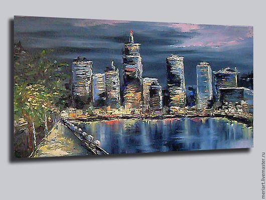 """Город ручной работы. Ярмарка Мастеров - ручная работа. Купить Картина маслом """"Ночной город"""". Handmade. Тёмно-синий"""