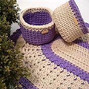 Для дома и интерьера handmade. Livemaster - original item Carpets: a set of knitted oval rug and two baskets. Handmade.
