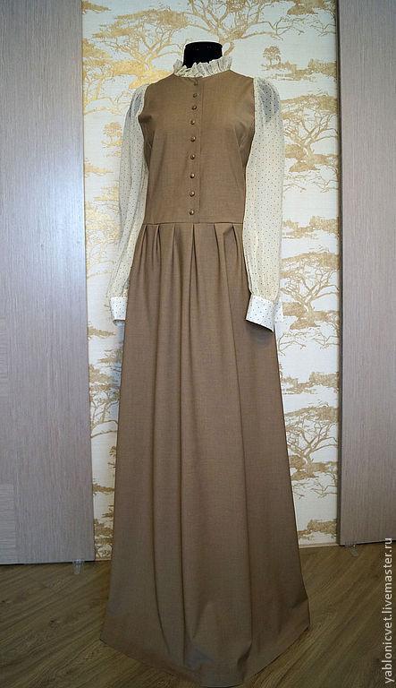 Платья ручной работы. Ярмарка Мастеров - ручная работа. Купить платье в пол. Handmade. Коричневый, в горошек, платье в пол