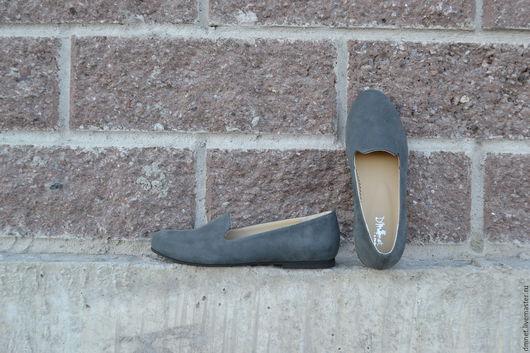 Обувь ручной работы. Ярмарка Мастеров - ручная работа. Купить Лоферы женские из серого велюра. Handmade. Темно-серый