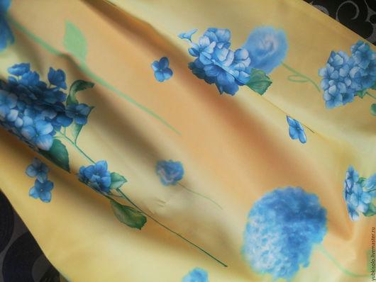 """Юбки ручной работы. Ярмарка Мастеров - ручная работа. Купить Атласная юбка """"Солнечная гортензия"""". Handmade. Желтый, голубая гортензия"""