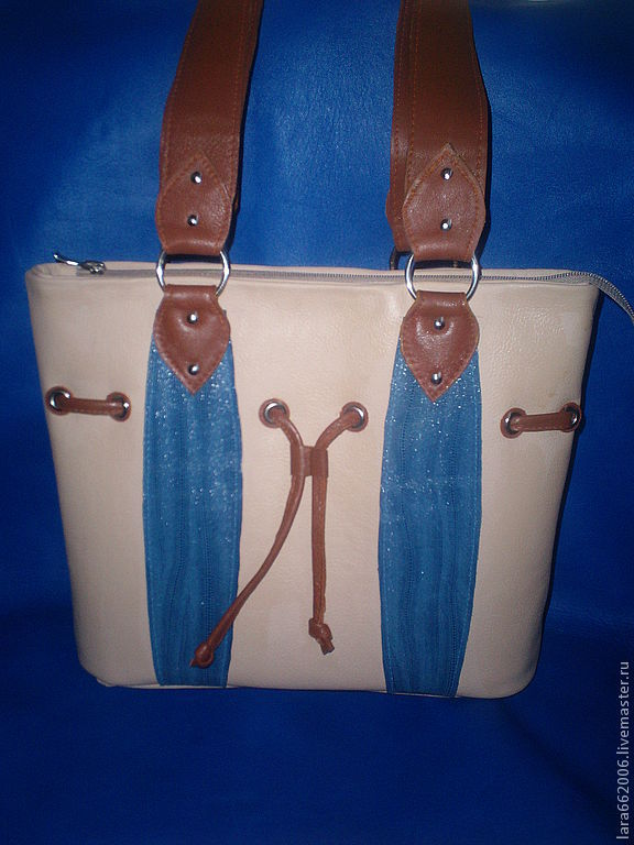 Handbags handmade. Livemaster - handmade. Buy Womens leather bag 'jeans' beige blue.Bag, buy a bag