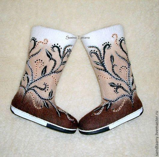 """Обувь ручной работы. Ярмарка Мастеров - ручная работа. Купить Валенки """"Мокко"""". Handmade. Авторские валенки, бисер"""