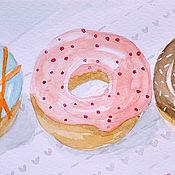 """Картины и панно ручной работы. Ярмарка Мастеров - ручная работа Акварель """"Пончики"""". Handmade."""