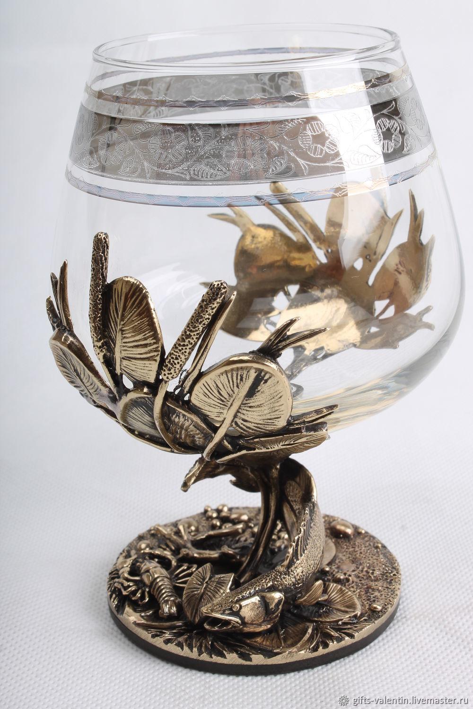 Glass of cognac 'Rich catch' pike perch, Wine Glasses, Vacha,  Фото №1