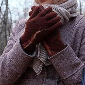 Аксессуары ручной работы. Ярмарка Мастеров - ручная работа Перчатки валяные Баварский шоколад. Handmade.