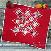 """Для дома и интерьера ручной работы. Ярмарка Мастеров - ручная работа Салфетка """"Бриллианты хардангера"""" ручная вышивка красная. Handmade."""