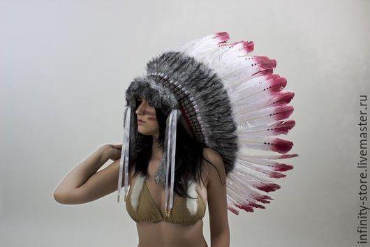 Этническая одежда ручной работы. Ярмарка Мастеров - ручная работа. Купить Индейский головной убор - Волчья Кровь. Handmade. Бордовый