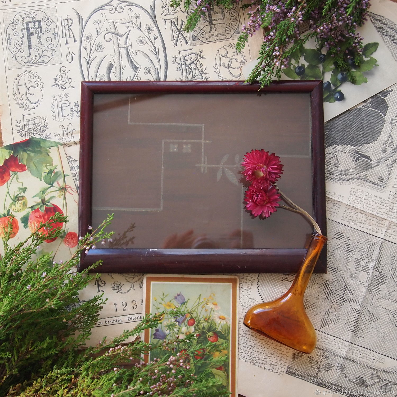 German vintage wooden photo frame with glass, Vintage interior, St. Petersburg,  Фото №1