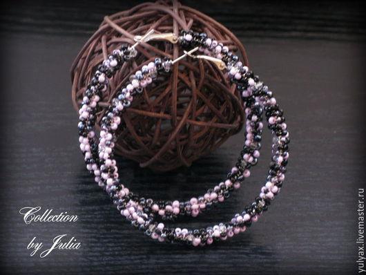 """Серьги ручной работы. Ярмарка Мастеров - ручная работа. Купить Серьги-кольца """"Pink and black"""". Handmade. Розовый"""