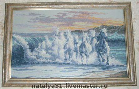 """Животные ручной работы. Ярмарка Мастеров - ручная работа. Купить Вышитая картина """"Волна"""". Handmade. Эксклюзивный подарок, подарок девушке"""