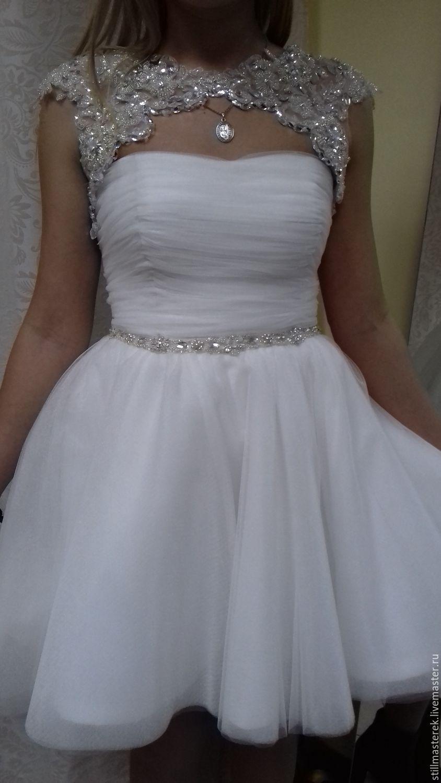 Short wedding dress with Bolero , Dresses, Moscow,  Фото №1