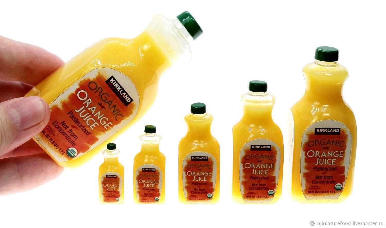 Dollhouse food: Juice for dolls in a bottle, Doll food, Schyolkovo,  Фото №1