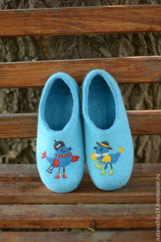 """Обувь ручной работы. Ярмарка Мастеров - ручная работа. Купить Валяные тапочки """"Две подружки"""". Handmade. Морская волна"""