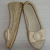 Обувь ручной работы. Ярмарка Мастеров - ручная работа Балетки вязаные Нежность, хлопок, молочный, р.39. Handmade.
