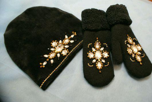 """Варежки, митенки, перчатки ручной работы. Ярмарка Мастеров - ручная работа. Купить Комплект с вышивкой  """"Золотая зима"""". Handmade."""