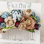 "Свадебный салон handmade. Livemaster - original item Floral  Bridal comb ""Ice coffee"" - Blue flower wedding accesories. Handmade."