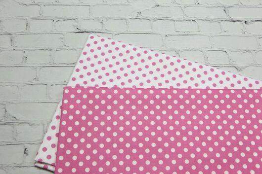 Шитье ручной работы. Ярмарка Мастеров - ручная работа. Купить Ткань хлопок Розовый горошек 8мм. Сатин. 100% Хлопок. Handmade.