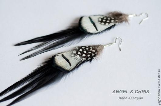 Серьги ручной работы. Ярмарка Мастеров - ручная работа. Купить Серьги с перьями,бохо украшения.... Handmade. Черный, перья