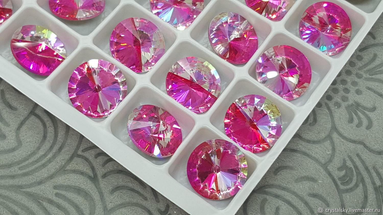 Crystal rhinestones Rivoli 12mm Premium, Duo Color 'Raspberry', Rhinestones, Jerusalem,  Фото №1