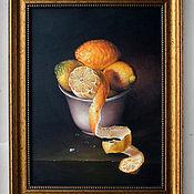 """Картины ручной работы. Ярмарка Мастеров - ручная работа Картина масло """"Лимоны в чаше"""". Handmade."""