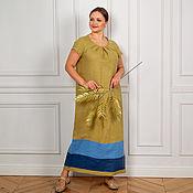 Одежда handmade. Livemaster - original item Author`s Linen dress in olive floor. Handmade.