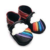 Обувь ручной работы handmade. Livemaster - original item Rainbow, Baby Shoes, Black Baby Booties, Leather Baby Shoes. Handmade.
