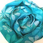 Шарф Цветы океана  шелковый
