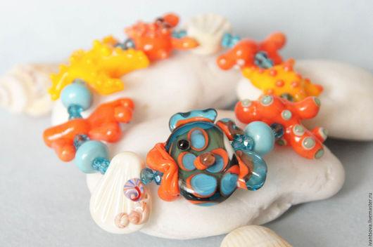 Браслеты ручной работы. Ярмарка Мастеров - ручная работа. Купить Браслет Подводный мир. Handmade. Коралловый, морская звезда, кораллы
