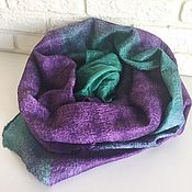 Аксессуары handmade. Livemaster - original item Scarf felted emerald-purple. Handmade.