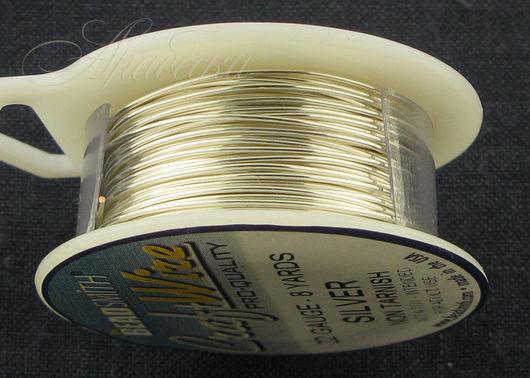 Проволока сияющего серебряного цвета медная 0.64мм (22ga) BEADSMITH (США)