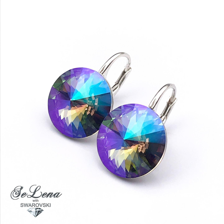 20 shades! Silver earrings with Swarovski crystals, Earrings, St. Petersburg,  Фото №1