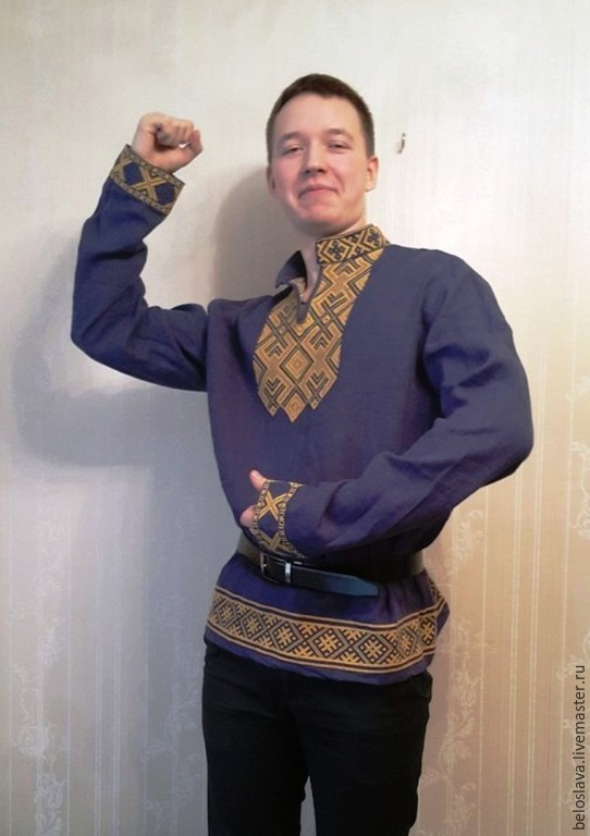 Мужская рубашка с русской вышивкой