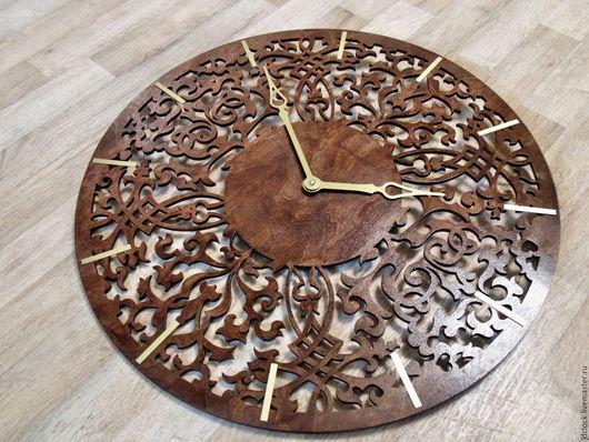 """Часы для дома ручной работы. Ярмарка Мастеров - ручная работа. Купить Настенные часы """"Арабская вязь"""". Handmade. Морская волна"""