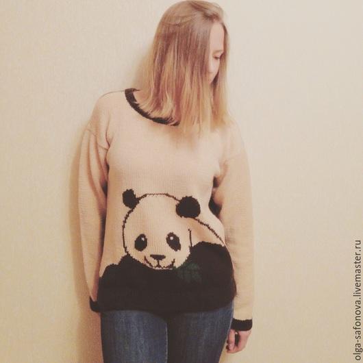 Кофты и свитера ручной работы. Ярмарка Мастеров - ручная работа. Купить Панда. Handmade. Бежевый, кофта с пандой, подарок для девушки
