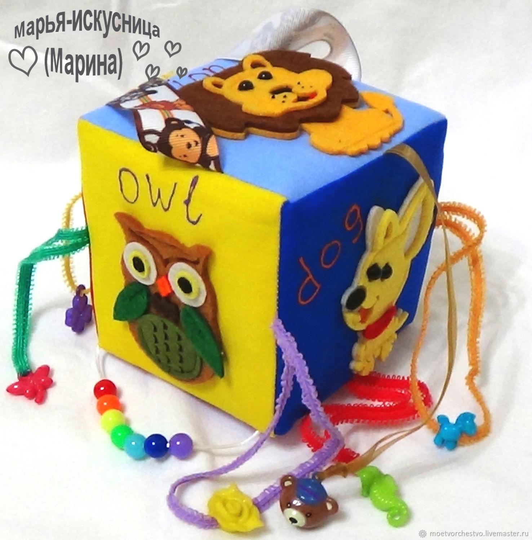 """Развивающие игрушки ручной работы. Ярмарка Мастеров - ручная работа. Купить Развивающий кубик """"English"""" зверушки. Handmade. Развивающие игрушки"""