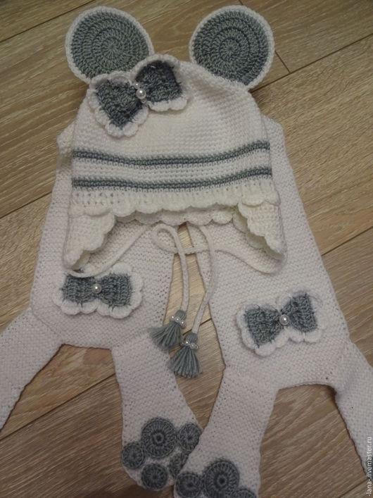 Одежда для девочек, ручной работы. Ярмарка Мастеров - ручная работа. Купить Комплект: шапочка и шарф. Handmade. Комбинированный, шапочка для девочки