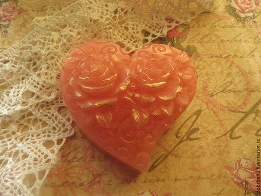 Мыло ручной работы. Ярмарка Мастеров - ручная работа. Купить Мыло. Сердце с розами.. Handmade. Сердце, ухаживающие масла