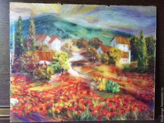 """Пейзаж ручной работы. Ярмарка Мастеров - ручная работа. Купить картина из шерсти"""" пейзаж Италии"""". Handmade. Разноцветный, пейзаж в подарок"""