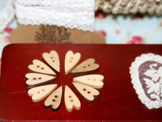 Шитье ручной работы. Ярмарка Мастеров - ручная работа. Купить Пуговица Тильда-сердечко деревянная. Handmade. Бежевый