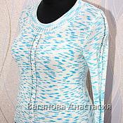 """Одежда ручной работы. Ярмарка Мастеров - ручная работа Пуловер с косой """"Синий иней"""". Handmade."""