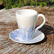 """Посуда ручной работы. Ярмарка Мастеров - ручная работа Кофейная пара """"Синий лёд"""". Handmade."""