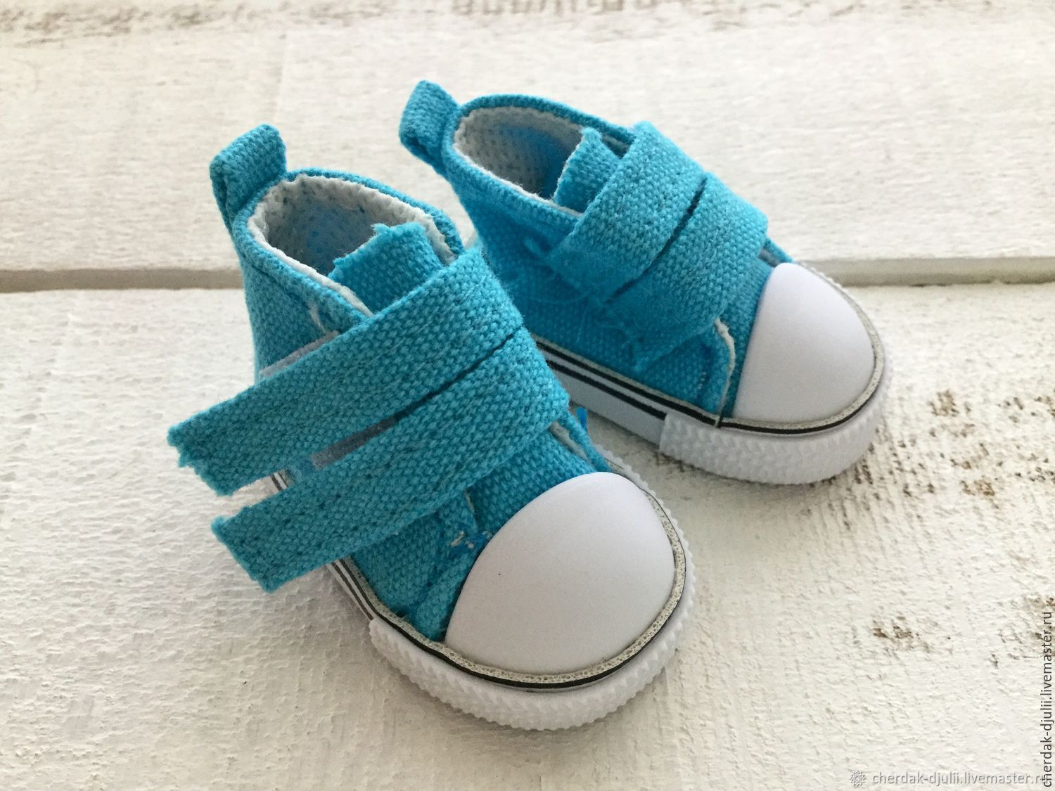 Sneakers for dolls Velcro, 5 cm, color turquoise, Details for dolls and toys, Kaliningrad,  Фото №1