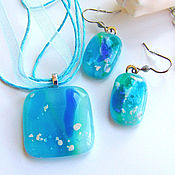 Украшения handmade. Livemaster - original item Glass Jewelry set Bosom of the sea. Fused glass. Handmade.