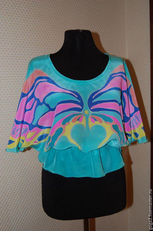 """Блузки ручной работы. Ярмарка Мастеров - ручная работа. Купить Шелковая блуза  """"Крылья"""" батик. Handmade. Морская волна"""